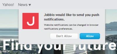 Jobbio- web push opt in prompt