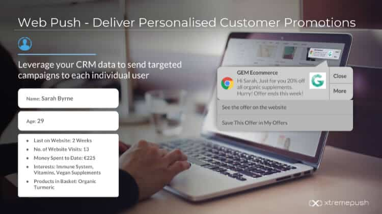 Desktop web push ecommerce