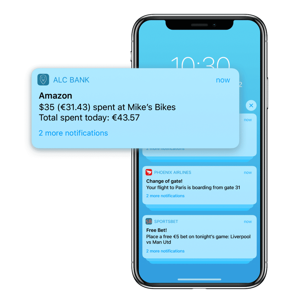 An app push notification sent by a retail bank containing transactional information