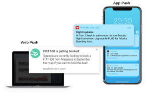 Push notifications on web browser and mobile app