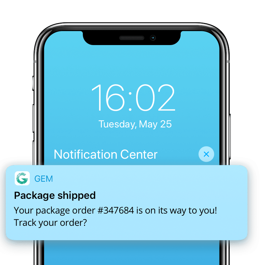 Push notification with shipping updates