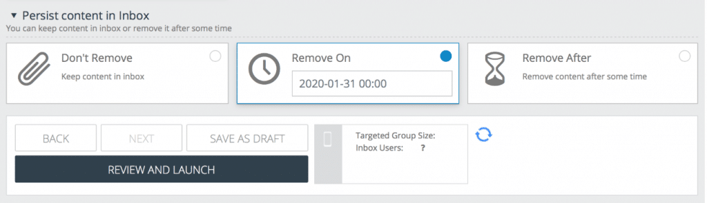 Image of the message scheduler in the Xtremepush dashboard