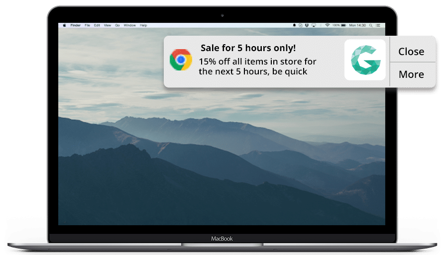 A time-sensitive offer sent through a web push notification (dynamic content used to maintain its accuracy)