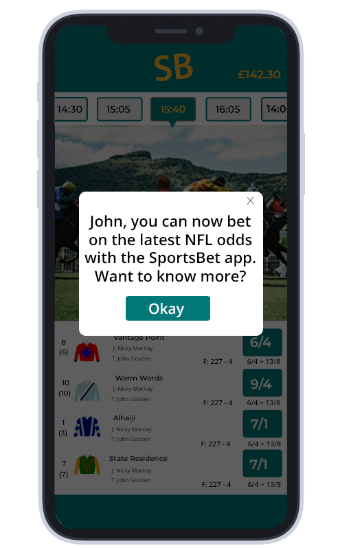 An example of an in-app message sent by a sports betting brand