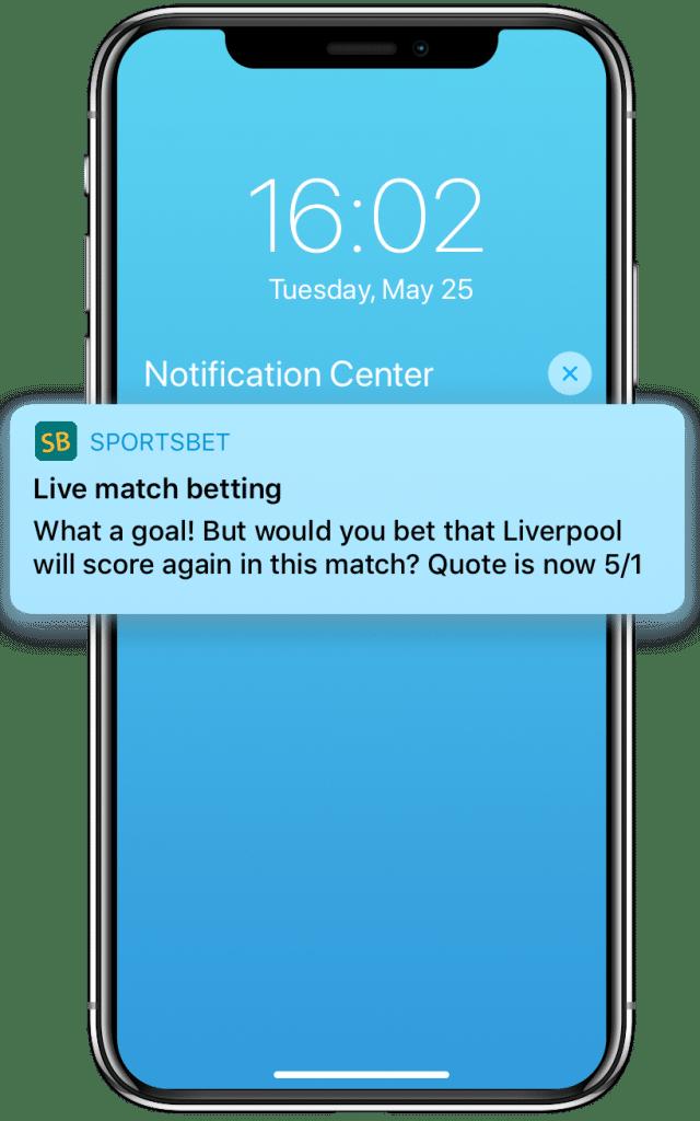 In-play betting push notification promoting next scorer odds