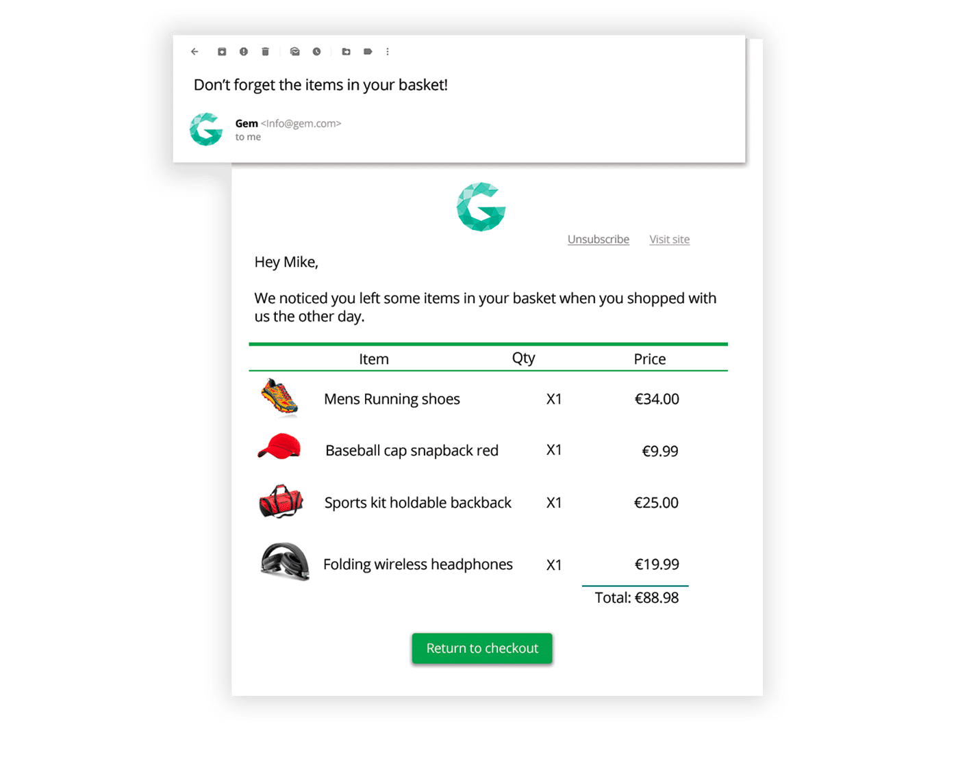 Abandoned cart emails example