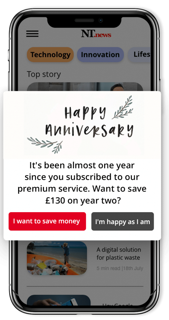 Encouraging paywall subscribers to renew long-term