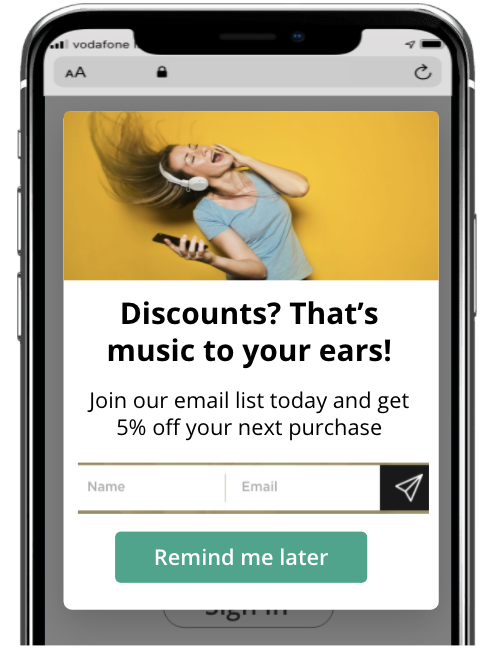 An email capture form delivered on a mobile device