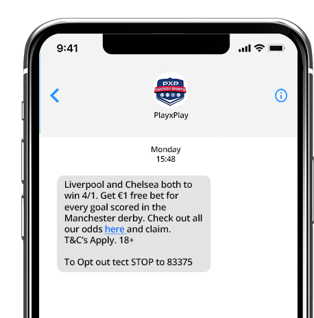 Using SMS to promote big game odds