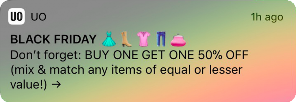 eCommerce brand using emojis in a push notification