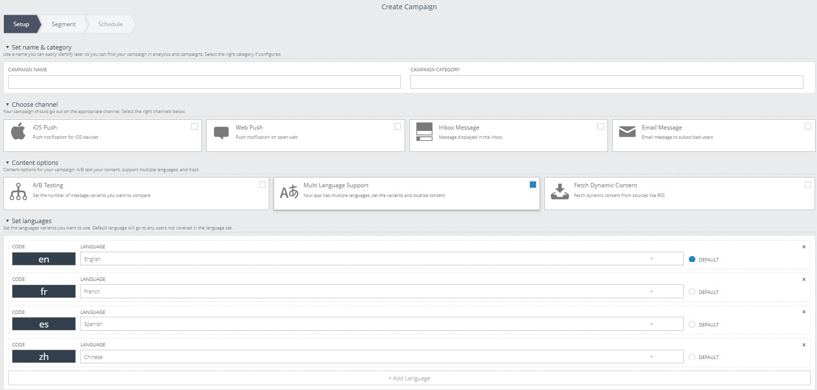 Xtremepush platform multi language tool
